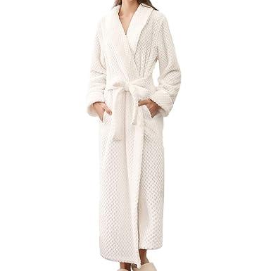 28e52c3b641bc Peignoir De Bain pour Femme Hiver Long Chaud, 100% Coton en Satin éPonge, Grand  Taille Polaire Robe De Chambre: Amazon.fr: Vêtements et accessoires