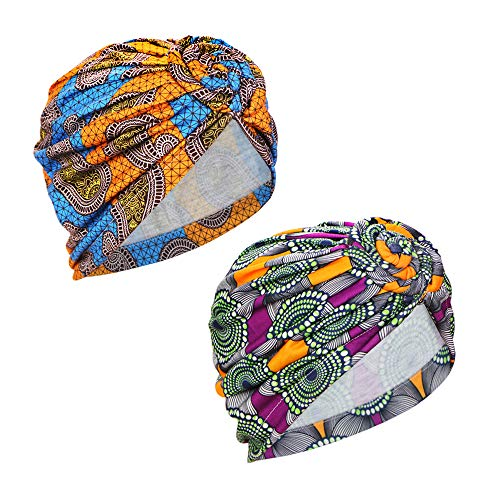 Samserot 2 Pieces Women Knotted Turban Cap, Twist Head Wrap Beanie Perfect for Long/Short Hair, Group 1