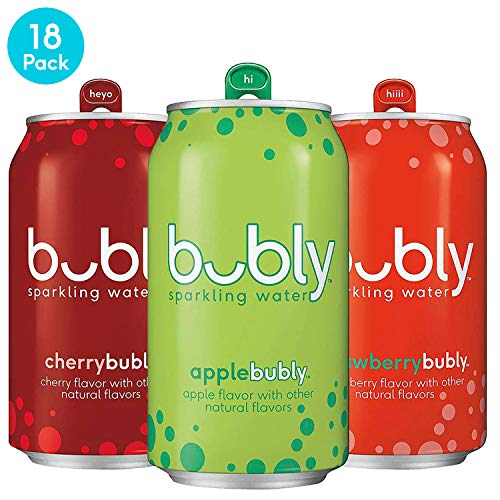 Sparkling Natural - bubly Sparkling Water, 3 Flavor Variety Pack (Apple/Cherry/Strawberry), 12fl oz. cans (18 Pack)