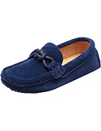 Children's Boy's Slip On School-Uniform Knot Suede Leather Loafers Shoes/Flats