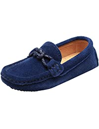 Shenn Children's Boy's Slip On School-Uniform Knot Suede Leather Loafers Shoes/Flats