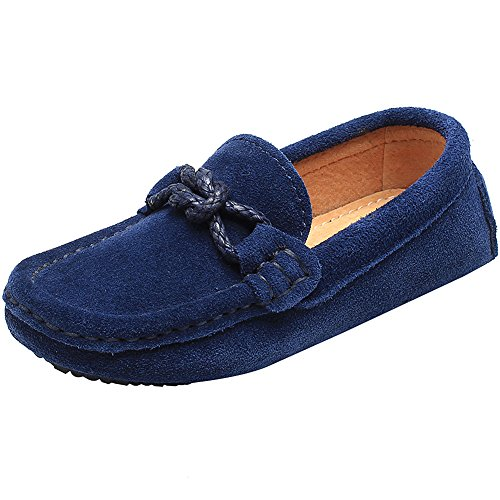 Shenn Children's Boy's Slip On School-Uniform Knot Suede Leather Loafers Shoes/Flats 8221K(Navy Blue,9 M US Toddler)