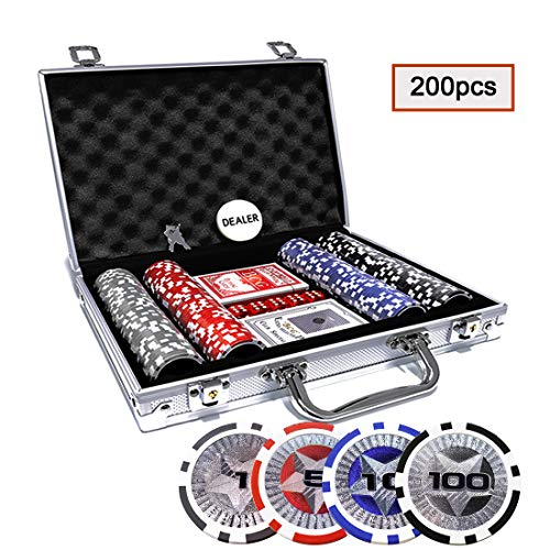 KAILE Clay Poker Chips Set 200 PCS Heavy Duty 13.5 Gram Chips Texas Holdem Cards Game Blackjack Gambling Chips with Aluminum Case (200 pcs) ()