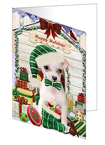 Happy Holidays Christmas Chihuahua Dog House with Presents Note Card NCD58208 (10)