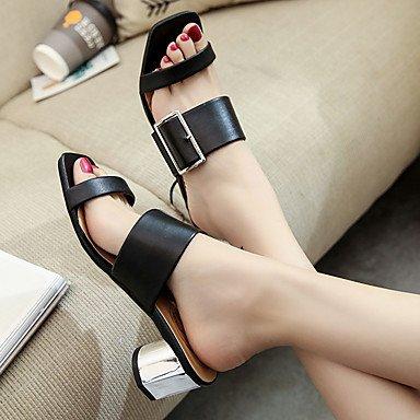 Sandalias Mujer 7 PU Negro 5 almond Almendra Verano LvYuan Robusto Tacón Primavera cms nApRAxF