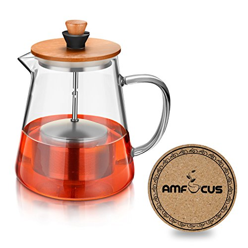 Glass Tea Kettle with 18/10 Stainless Steel Tea Infuser,Bloo