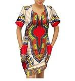 Highisa Women African Dashiki Batik Mulit Color Party Club Mini Dress 11 2XL