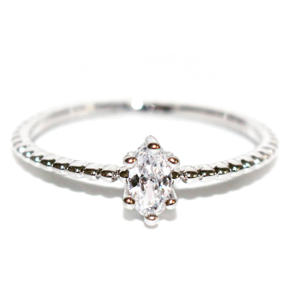 Excelsia 18K Dainty and Delicate Oval-Cut Cubic Zirconia on Stackable Band Ring - White Gold Plated Size 5