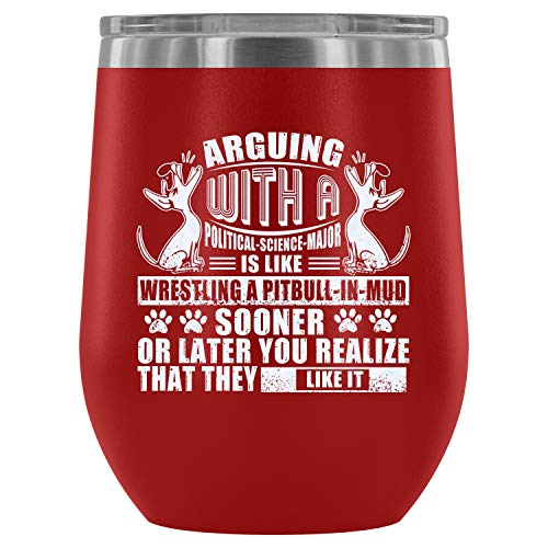 Steel Stemless Wine Glass Tumbler, Awesome Pit Bull