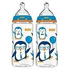 NUK Blue Penguin Orthodontic Medium Flow Bottles, 2 Pack, 10 Ounce