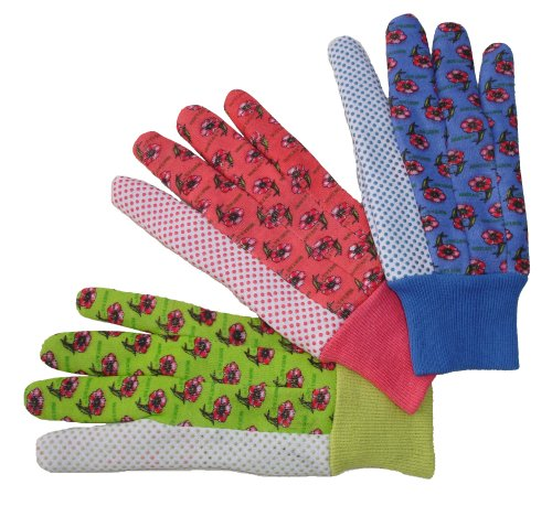 Dotted Jersey Glove - G & F 1852-3 Women Soft Jersey Garden Gloves, Women Work Gloves, 3-Pairs Green/Pink/Blue per Pack
