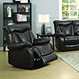 Coaster Zimmerman Casual Dark Brown Glider Recliner with Pillow Arms