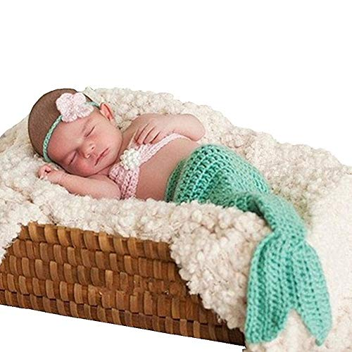 SUNBABY Newborn Photography Props Baby Knitting Wool Material Photography Costume Cute Animal Style Baby Crochet Clothes (Light Green Mermaid) ()