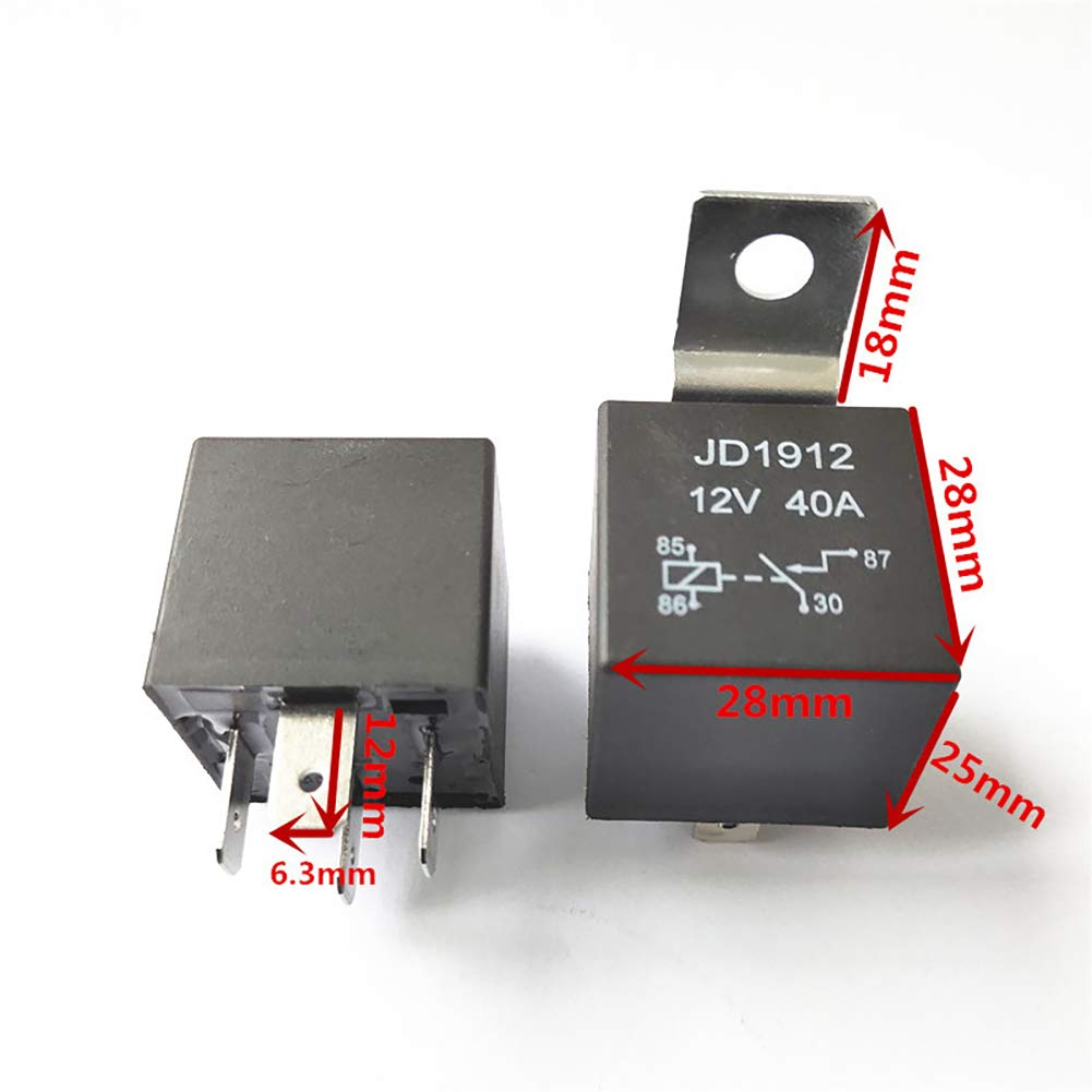 BEESCLOVER 5pcs//Set DC 12V//24V-40A Car SPDT Automotive Relay 4 Pin 4 Wires w//Harness Socket