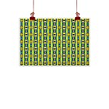 """Fabric Cloth Rolled Kente Pattern,Geometric Vertical Borders Funky Colorful Native Kenya Design with Triangles, Multicolor 48""""x32"""" for Bedroom Living Room Kitchen Bathroom Artwork"""