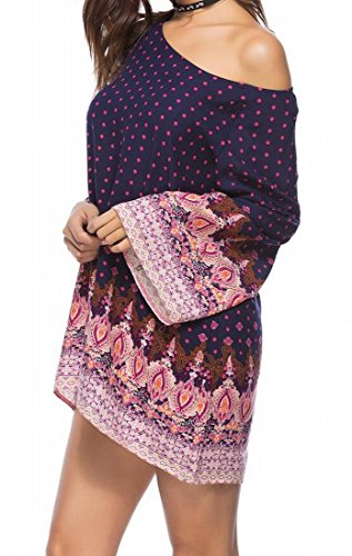 Floral Tunic T Neck Party Scoop Shirt Women's Dress Fit Casual Loose 1 Domple Mini 0w6q8xgEn