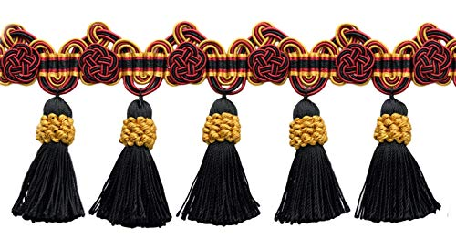 DÉCOPRO 5 Yard Package of 3.75 Inch Red, Black, Gold Tassel Fringe Trim with Rosettes|Style# TFAX0375 (21765)|Color: Scarab - LX10 (36 Ft / 11 Meters)