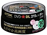 TDK Recording for Dvd-r Dl (White Wide Disk) 30 Spindle Dr215dpwb30ps 8 Speed Corresponding Ink-jet Printer Support (Single-sided, Dual-layer) Cprm Support