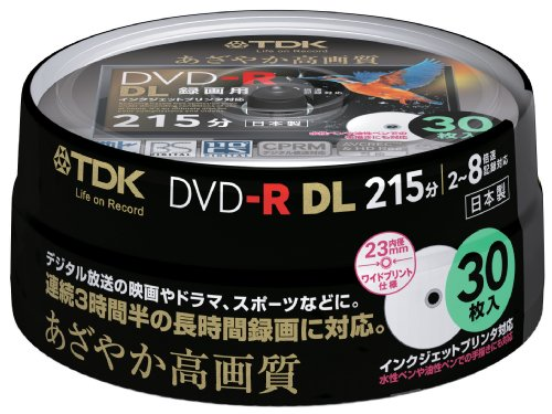 TDK Recording for Dvd-r Dl (White Wide Disk) 30 Spindle Dr215dpwb30ps 8 Speed Corresponding Ink-jet Printer Support (Single-sided, Dual-layer) Cprm Support by TDK Media