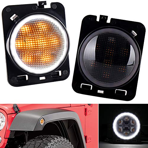 LED Side Marker Lights Amber Turn Signal with White Halo DRL Smoke Lens Replaces 07-17 Jeep Wrangler Front Fender Signal Parking Indicator Lamp