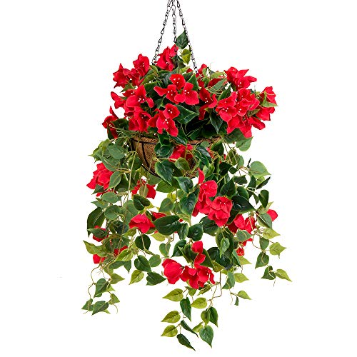 Baskets Outdoor Flower (Mixiflor 7.8' Artificial Watermelon Red Bougainvillea Hanging Basket Decorative Silk Flower Fully Assembled)