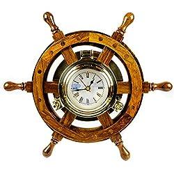 12 Nautical Decorative Premium Wood Porthole Ship Wheel Clock| Brass Maritime | Nagina International