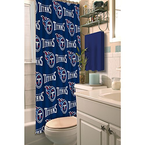 1pc Navy Blue NFL Tennessee Titans Football Sports Themed Shower Curtain, Official Colorful Team Logo Printed, True Color, All Seasons, Polyester Detailed Sports Pattern, Modern Elegant Design by OTSK
