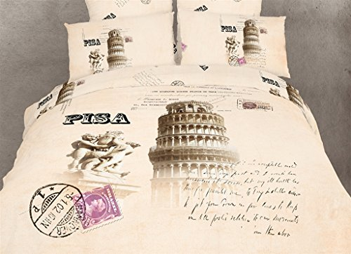 Pisa - 4 Pc. Extra Long Twin Size Duvet Cover Bedding Set (1 Duvet Cover, 1 Fitted Sheet, 1 Sham, 1 Pillow Case) - SAVE BIG ON BUNDLING! by Dolce Mela