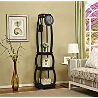 Mixcept Wooden Multi-functional Shelf with 3 Tier Storage Shelves Entryway Hat Rack with 8 Hooks Coat Holder Storage Rack, Black