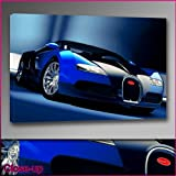 """Blue Bugatti Veyron Framed Ready To Hang Canvas by whatsonyourwall, Cars Wall Art Sizes from 8"""" to 40"""" 24""""x36"""""""
