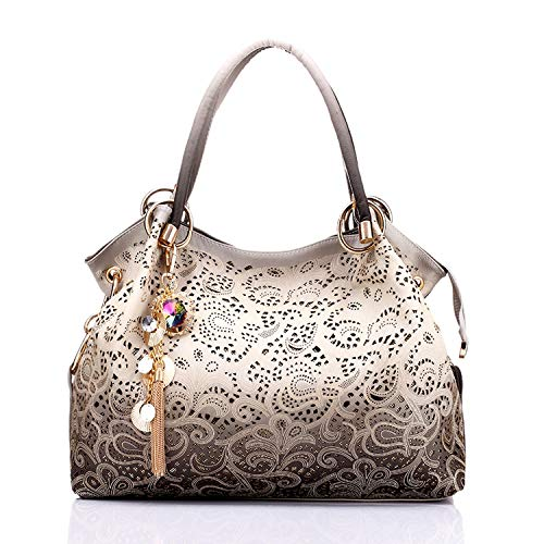 (A Fashion Cute Bag women bag hollow out handbag floral print shoulder bags ladies pu leather tote bag red/gray/blue,Gray,(30cm~Max Length~50cm))