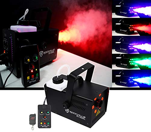 Rockville R1200L Fog/Smoke Machine w LED Lights/Strobe, 7 Channel DMX+2 Remotes ()