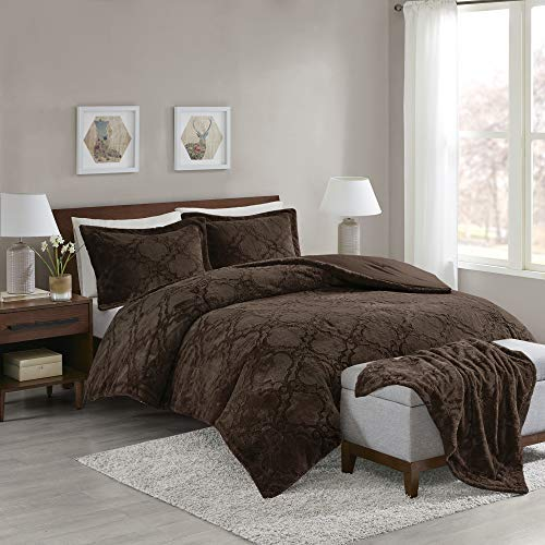 Comfort Spaces Odessa Long Fur 4 Piece Comforter and Throw Combo Set, Ultra Soft Snuggle Warm Ogee Pattern Bedding, King, Chocolate