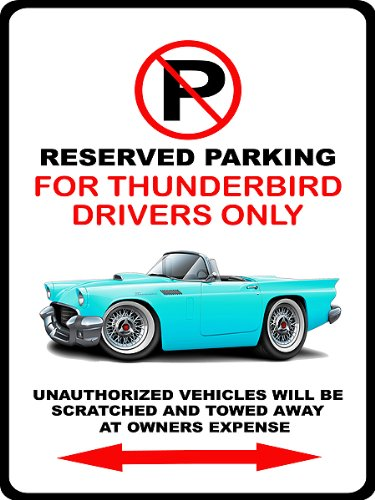 - 1957 Ford Thunderbird Classic Car-toon No Parking Sign