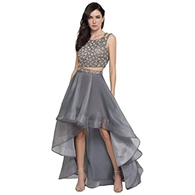 David S Bridal Beaded Organza Two Piece Prom Dress With High