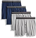 Goodthreads Men's 4-Pack Tag-Free Knit Boxers, Heather Grey/Dark Navy, Large
