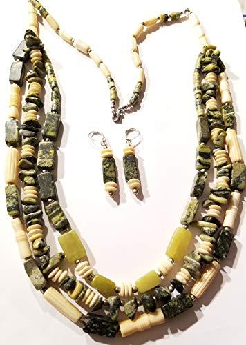 (Bone Beads Jade Yellow Turquoise Gemstones Multi Strand Necklace Earrings Set)