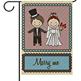 Cheap ALAZA Wedding Just Married Garden Yard Flag 28 x 40 Inch, Marriage House Banners Mr & Mrs Double Sided Decorative Flags for Outdoors Home Party