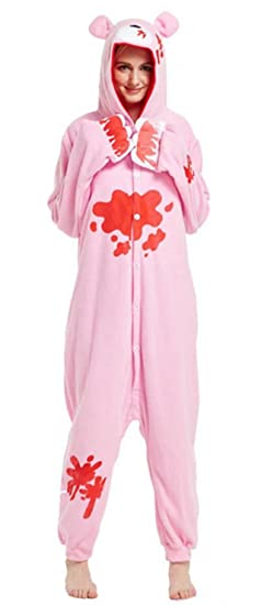 Ameyda Women's Kigurumi Onesie Pink Bear Pajamas Costume