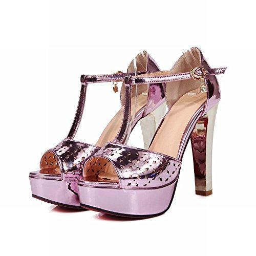 Mee Shoes Damen modern reizvoll Peep toe t-strap mit Löcher Knöchelriemchen Lackleder runde Plateau Sandalen mit hohen Absätzen Pink