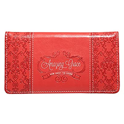 "Soft Coral ""Amazing Grace"" Checkbook Cover"