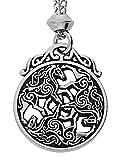 Handmade Celtic Knot Divine Horse Triskele Epona Triple Goddess Pewter Pendant (with 18 inch Chain)
