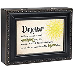 Daughter Sunshine to my Life Matte Black Jewelry Music Box Plays You are My Sunshine