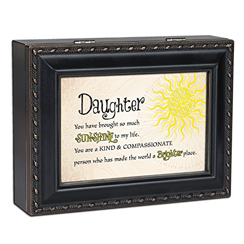 Cottage Garden Daughter Sunshine to my Life Matte Black Jewelry Music Box Plays You are My Sunshine ()