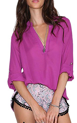 Finejo Lady Women's Fashion Long Sleeve V-Neck Sexy Casual Loose Top Blouse