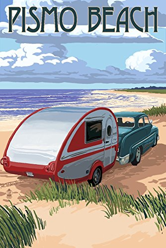(Pismo Beach, California - Retro Camper on Beach (9x12 Fine Art Print, Home Wall Decor Artwork)