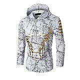 Mnyycxen Mens Autumn Winter Casual Print Long Sleeve Pullover Sweatshirt Hoodie Coat Top (M, White)