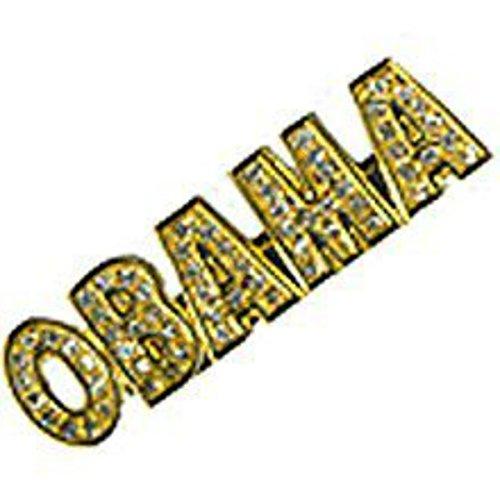 Obama Rhinestone Pin - BARACK OBAMA GOLD RHINESTONE LAPEL PIN
