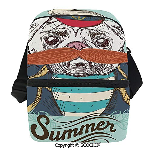SCOCICI Thermal Insulation Bag Captain Dog with Hat Mustache Jacket and Shirt Cute Animal Funny Image Decorative Lunch Bag Organizer for Women Men Girls Work School Office Outdoor
