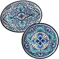Nancy Green TAL2PC 'Talavera' Floral White, Blue, and Green Melamine Round and Oval Platter Set (Set of 2), Durable, Heavy-duty, Lightweight, Perfect for Indoor and Outdoor,